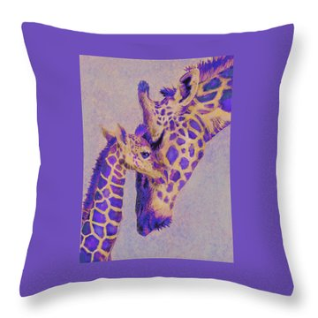 Loving Purple Giraffes Throw Pillow by Jane Schnetlage
