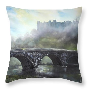 Throw Pillow featuring the painting  Ludlow Castle In A Mist by Jean Walker