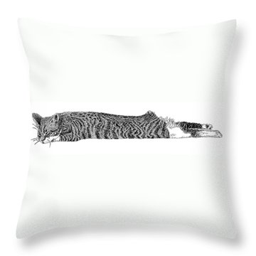 Skippy The Manx Cat Sleeping Throw Pillow