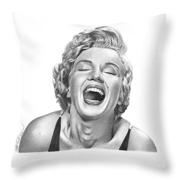Throw Pillow featuring the drawing  Marilyn Monroe - 034 by Abbey Noelle