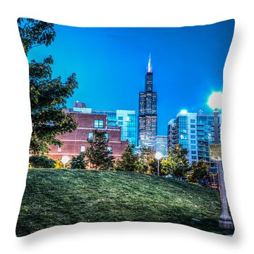 Mary Bartelme Park And The Willis Tower Throw Pillow