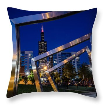 Mary Bartelme Park And The Willis Tower At Night Throw Pillow