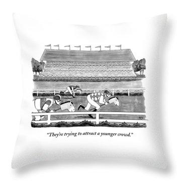 Men Race On Toy Horses Throw Pillow