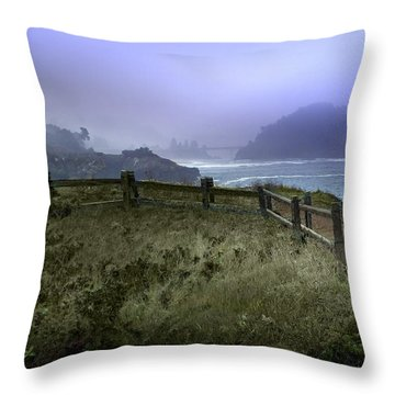 Mendocino Cliff Side Foggy Day   Throw Pillow