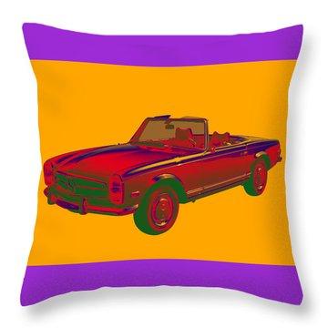 Mercedes Benz 280 Sl Convertible Pop Art Throw Pillow
