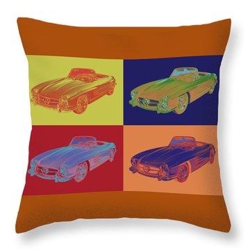 Mercedes Benz 300 Sl Convertible Pop Art Throw Pillow
