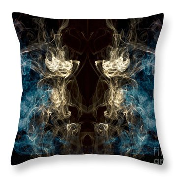 Minotaur Smoke Abstract Throw Pillow by Edward Fielding