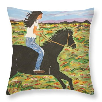 Morning Bareback Ride Throw Pillow