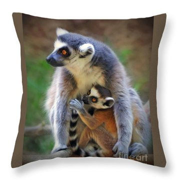 Throw Pillow featuring the photograph    Mother And Baby Monkey by Savannah Gibbs