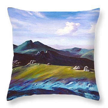 Mourne Mountains 1 Throw Pillow by Anne Marie ODriscoll