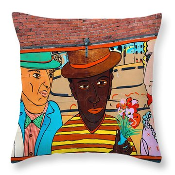 Mural Wall Art In Seattle Throw Pillow by Kym Backland