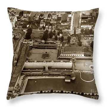 Neptune Beach Olympic Size Swimming Pool And A Roller Coaster Alameda Circa 1920 Throw Pillow