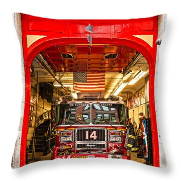 New York Fire Department Engine 14 Throw Pillow by Luciano Mortula