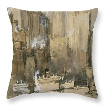 New York From Our Brooklyn Flat Circa 1921 Throw Pillow by Aged Pixel