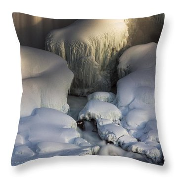 Niagara Falls Frozen Throw Pillow