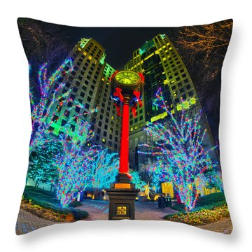 Nightlife Around Charlotte During Christmas Throw Pillow