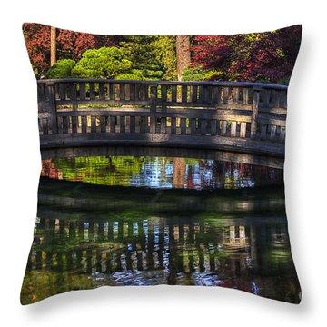 Nishinomiya Japanese Garden - Bridge Over Kiri Pond Throw Pillow