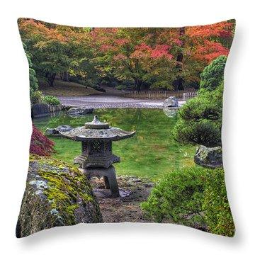 Nishinomiya Japanese Garden -japanese Lantern Throw Pillow