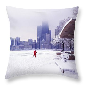 North Ave Beach Chess Palv Chicago Lake Front  Throw Pillow