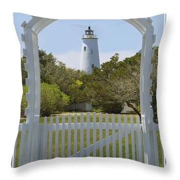 Ocracoke Island Lighthouse Throw Pillow by Mike McGlothlen
