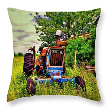Old Ford Tractor Throw Pillow by Savannah Gibbs