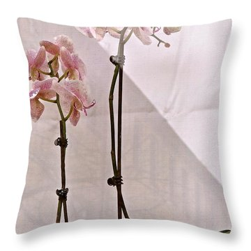 Throw Pillow featuring the photograph  Orchids In The Window by Ira Shander