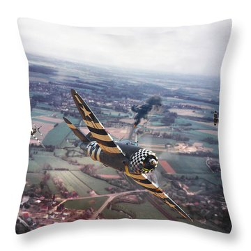 P47- D-day Train Busters Throw Pillow by Pat Speirs