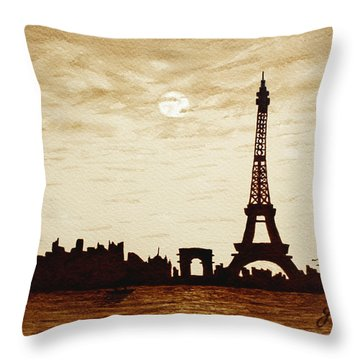 Paris Under Moonlight Silhouette France Throw Pillow