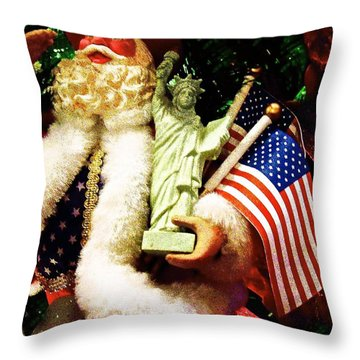 Patriotic Santa Throw Pillow