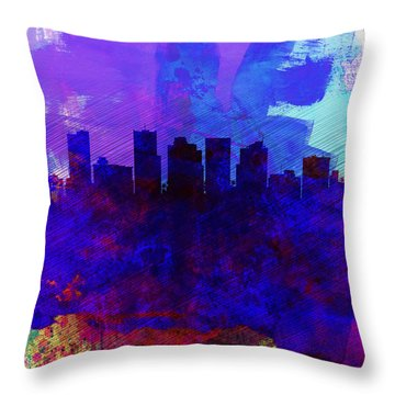 Phoenix Watercolor Skyline 1 Throw Pillow by Naxart Studio