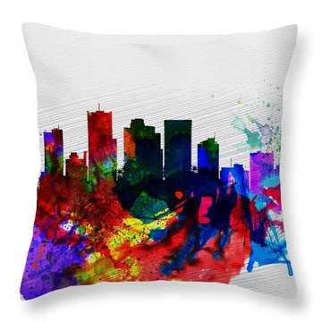 Phoenix Watercolor Skyline 2 Throw Pillow by Naxart Studio