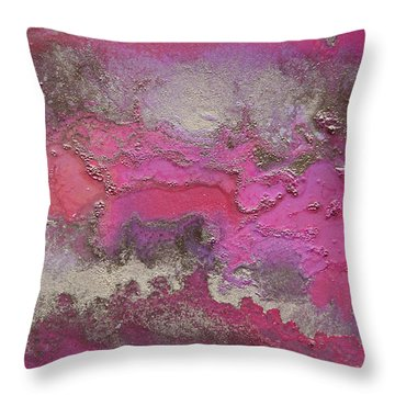 Pink And Gold Abstract Painting Throw Pillow