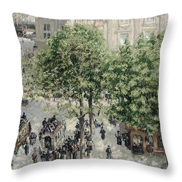Place Du Theatre Francais Throw Pillow by Camille Pissarro