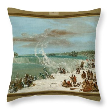 Portage Around The Falls Of Niagara At Table Rock Throw Pillow by George Catlin