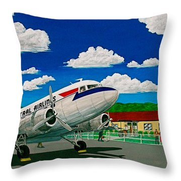 Portsmouth Ohio Airport And Lake Central Airlines Throw Pillow by Frank Hunter