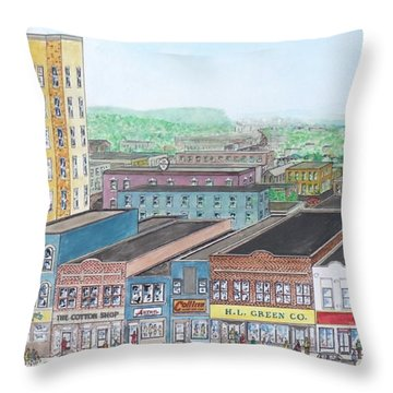 Portsmouth Ohio Dime Store Row 4th To 5th Throw Pillow by Frank Hunter