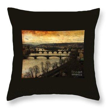 Vintage Prague Vltava River 1 Throw Pillow