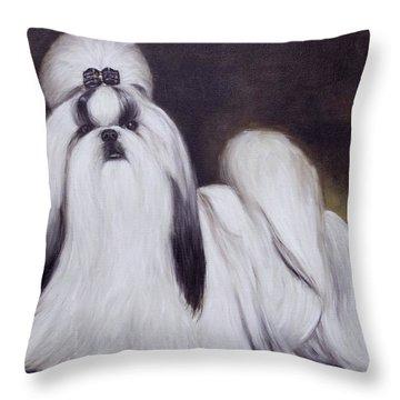 Pretty Showdog Shih Tzu Throw Pillow by Melinda Saminski