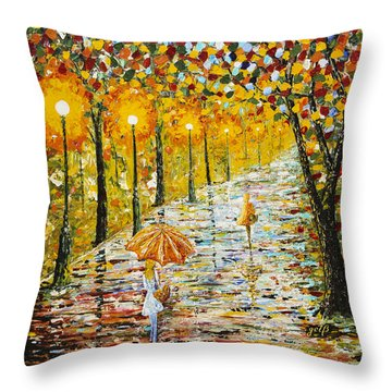 Rainy Autumn Beauty Original Palette Knife Painting Throw Pillow