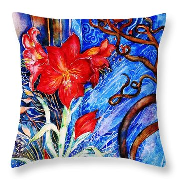 Throw Pillow featuring the painting  Red Amaryllis  by Trudi Doyle