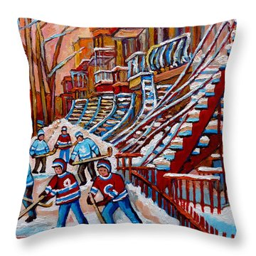 Red Staircases -paintings Of Verdun Montreal City Scene - Hockey Art - Winter Scenes  Throw Pillow by Carole Spandau