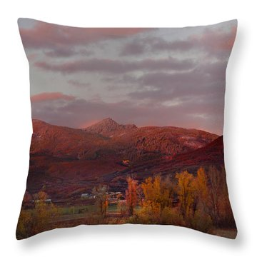 Rocky Peak Autumn Sunset Throw Pillow by Daniel Hebard