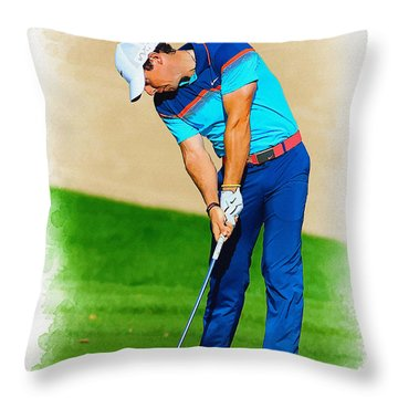 Rory Mcilroy Plays His Second Shot On The Par 4 Throw Pillow