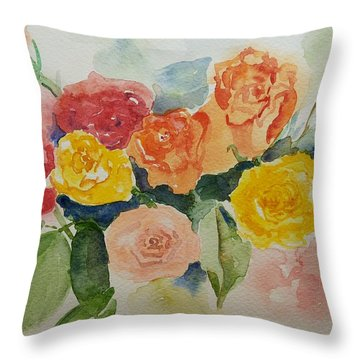 Roses For You Still Life Throw Pillow by Geeta Biswas