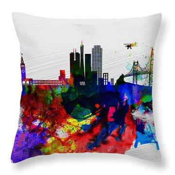 San Francisco Watercolor Skyline 1 Throw Pillow
