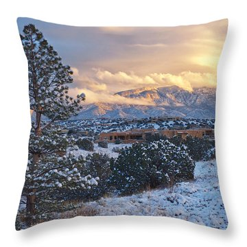 Sandia Mountains With Snow At Sunset Throw Pillow