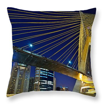 Sao Paulo's Iconic Cable-stayed Bridge  Throw Pillow