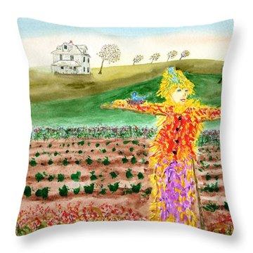 Scarecrow With Nesting Companion Throw Pillow