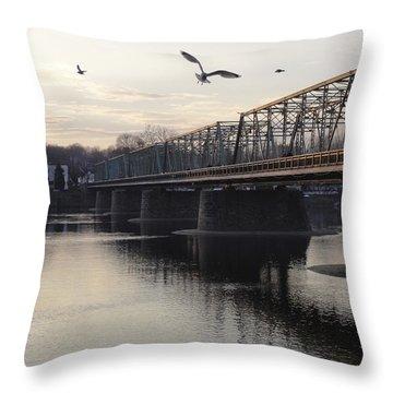 Gulls At The Bridge In January Throw Pillow