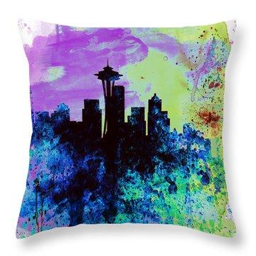 Seattle Watercolor Skyline 1 Throw Pillow by Naxart Studio